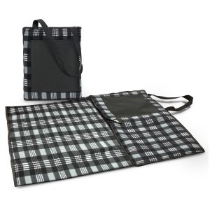 The Trends Collection Dakota Picnic Blanket is a Black/Grey picnic blanket that folds into compact unit. 3 branding options. Great branded picnic blankets.
