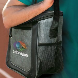The Trends Collection Aspiring Cooler Bag is an elite cooler bag with zip closure and elastic lacing. In Grey. Great branded corporate cooler bags.