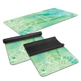 The Trends Collection Mantra Yoga Mat is a stylish yoga mat with 2mm rubber base and microfibre surface.  Sublimated full colour branding.  Great yoga mats.