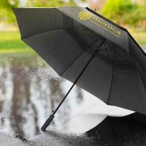 The Trends Collection Swiss Peak Tornado Storm Umbrella is a 8 panel umbrella with auto opening.  Black.  Great premium storm umbrellas.