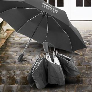 The Trends Collection Swiss Peak Foldable Umbrella is a 3 stage folding umbrella with auto open and close.  8 panel. Black.  Great branded foldable umbrellas.