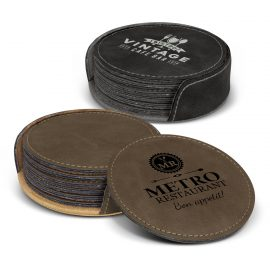 The Trends Collection Sirocco Coaster Set is a set of 6 round coasters that can be laser engraved.  In Dark Brown or Black.  Great smart coaster corporate gifts.