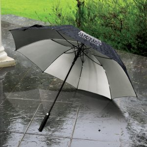 The Trends Collection Patronus Umbrella is a premium 8 panel sports umbrella. Strong canopy with silver underside. Black. Great branded corporate umbrellas.