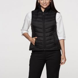 The Aussie Pacific Ladies Snowy Puffer Vest is a nylon/polyester puffer vest.  8 - 22.  Black or Navy.  Mens available.  Great option for winter puffer vests.