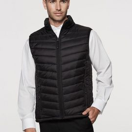 The Aussie Pacific Mens Snowy Puffer Vest is a nylon/polyester puffer vest.  S - 5XL.  Black or Navy.  Womens available.  Great option for winter puffer vests.