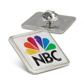 The Trends Collection Altura Lapel Pin Square is a large square lapel bin badge.  Full colour branding.  Badge in Silver.  Great branded custom printed badges.