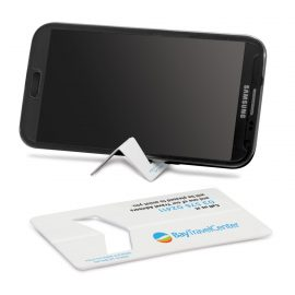 The Trends Collection Business Card Phone Stand is a unique plastic business card that can fold to a handy phone or tablet stand.  Great branded promo products.