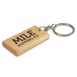 The Trends Collection Artisan Key Ring Rectangle is a natural wood keyring with a shiny chrome split key ring.  Great eco friendly promo key ring.