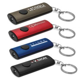 The Trends Collection Kylo Key Ring Light is an aluminium key ring with powerful LED light. 4 colours. Great branded key ring lights & promo products.