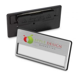 The Trends Collection Magnetic Name Badge is a smart multiple use name badge with strong magnetic clip.  Silver.  Great branded magnetic name badges.