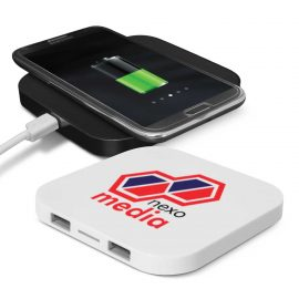 The Trends Collection Impulse Wireless Charging Hub is a 5 Watt phone charger with wireless and conventional charging options.  Great branded tech products.