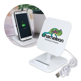 The Trends Collection Phaser Wireless Charging Stand Square is a stylish 5 watt wireless phone charger with adjustable stand.  Great branded wireless charging stand.