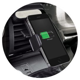 The Trends Collection Zamora Wireless Charging Phone Holder is a unique spring loaded car phone holder.  Black.  Great branded wireless charging phone holders.