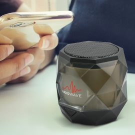 The Trends Collection Quartz Bluetooth Speaker is a compact bluetooth speaker with futuristic design and light show.  Black.  Great branded bluetooth speakers.
