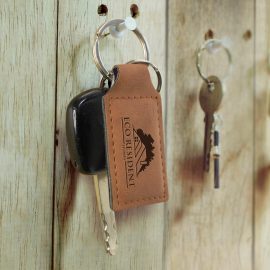 The Trends Collection Ashton Key Ring is a rectangular PU leather key ring with matching stitching. 4 colours. Laser Engraved. Smart leather promo key rings.