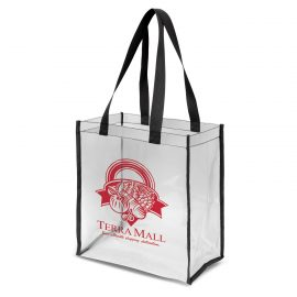 The Trends Collection Clarity Tote Bag is a stylish large tote bag made from crystal clear plastic.  Black edges.  Great transparent event tote bags.