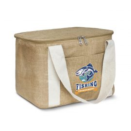 The Trends Collection Asana Cooler Bag is a medium size 13 litre cooler bag.  Natural June with natural cotton carry handles.  Great branded eco cooler bags.