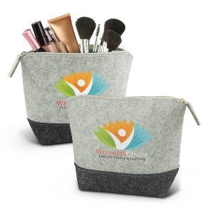 The Trends Collection Cassini Cosmetic Bag is a medium 2 tone cosmetic bag.  Poly-felt Grey.  Great branded cosmetic bags for your beauty customers.