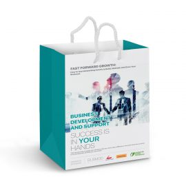The Trends Collection Medium Laminated Carry Bag in Full Colour is a medium sized bag with rope handles.  Full colour branding.  Great custom retail bags.