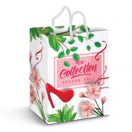 The Trends Collection Large Laminated Paper Carry Bag Full Colour is a large paper carry bag with rope handles.  Full Colour printing.  Great branded paper bags.