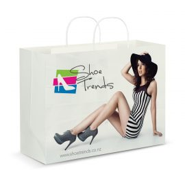 The Trends Collection XL Paper Carry Bag Full Colour is a large paper carry bag with rope handles.  Full Colour printing.  Great branded paper bags.