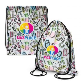 The Trends Collection Akron Drawstring Bag is a medium size drawstring backpack.  Sublimation full colour printed.  Great branded sublimated drawstring bags.