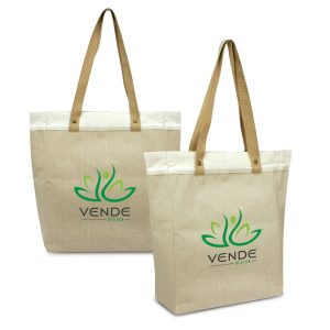 The Trends Collection Marley Juco Tote Bag is a natural laminated juco tote bag. Natural. Great branded eco tote bags from Trends Collection.