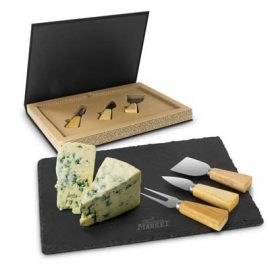 The Trends Collection Montrose Slate Cheese Board Set is a luxury round slate cheese board set. Laser Engraved on slate. Great branded cheese boards from Trends Collection.