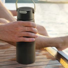 The Trends Collection Bluetooth Speaker Vacuum Bottle is a stylish 700ml double wall stainless bottle. Water resistant speaker. Great branded tech bottles.