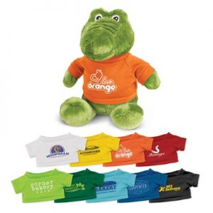 The Trends Collection Crocodile Plush Toy is a soft crocodile plush toy with tee.  9 colours.  Great branded awareness promo products from Trends Collection.