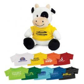 The Trends Collection Cow Plush Toy is a soft cow plush toy with tee available in 9 colours.  Great brand awareness promo products from Trends Collection.