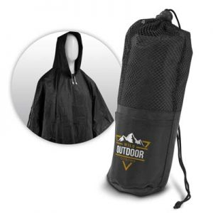The Trends Collection Storm Rain Poncho is a reusable waterproof rain poncho with fasteners and drawstring hood.  Black.  Great branded rain ponchos.