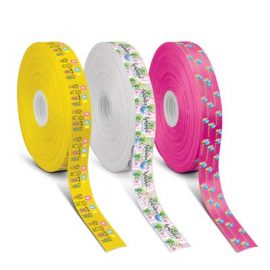 The Trends Collection Personalised Ribbon 40mm - Full Colour is a 40mm wide ribbon with full colour branding on one side.  Great branded full colour ribbons.