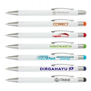 The Trends Collection Lancer Stylus Pen is a retractable aluminium ball pen with stylus. White barrels. Laser engraved. Great branded pens from Trends Collection.