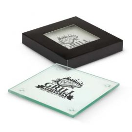 The Trends Venice Glass Coaster set of 4 are square glass coasters. 3 branding options. Black gift box with window. Great coasters from Trends.