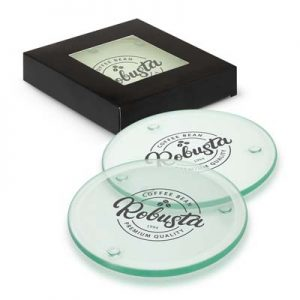 The Trends Venice Glass Coaster set of 4 are round glass coasters. 3 branding options. Black gift box with window. Great coasters from Trends.