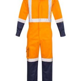 The Syzmik Mens Rugged Cooling TTMC - W17 Overall is a 240gsm cotton ripstop overall.  Square weave fabric and venting.  Orange/Navy.