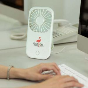 The TRENDS Opal Desk Fan is a compact and portable USB powered fan. Large branding area. Black or White. Great branded tech promo products.