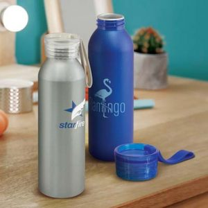 The TRENDS Hydro Bottle is a lightweight, 600ml aluminium drink bottle with metallic finish,  4 colours.  Great branded metal drink bottles.