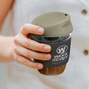 The TRENDS Nova Cup - Borosilicate 250ml is an elegant reusable borosilicate coffee cup. 15 colours for lids and bands. Great branded cups.