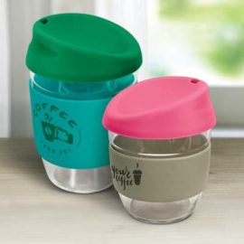 The TRENDS Nova Cup - Borosilicate 250ml is an elegant reusable borosilicate glass coffee cup.  15 colours for lids and bands.  Great branded glass cups.
