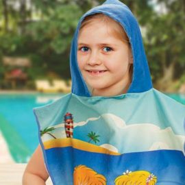 The TRENDS Kids Hooded Towel is a kids size hooded towel, made from 250gsm microfibre.  Full Colour.  Great branded kids hooded towels for swim teams.