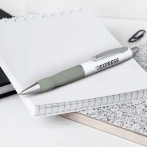 The TRENDS Turbo Pen - White Barrel is a retractable brass ball pen with soft rubber grip. 11 colours. Great branded pens for you and your clients.