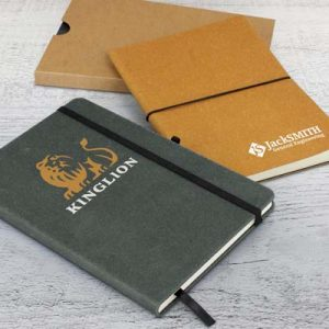 The TRENDS Phoenix Recycled Hard Cover Notebook is an eco conscious notebook with hard cover.  Recycled leather.  2 colours.  Great branded eco notebooks.