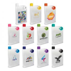 The TRENDS Accent Drink Bottle Frosted is a 400ml water bottle shaped like a notebook. 11 colours. Great branded futuristic drink bottles.