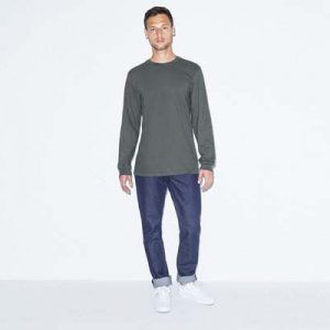 The American Apparel Fine Jersey Long Sleeve Tee is a 146gsm 100% cotton long sleeve tee. 4 colours. S - 2XL. Great branded long sleeve tees.