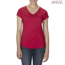 The Anvil Tri Blend Ladies V-Neck Tee is a 159gm2 pre shrunk 50% polyester tee. 6 colours. XS - 2XL. Great branded tri blend tees.