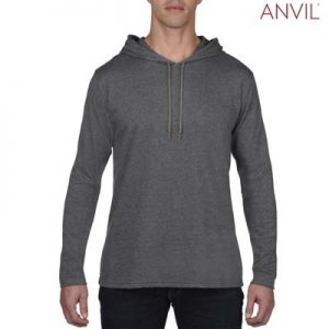The Anvil Lightweight Long & Lean Sleeve Hooded Tee is a 150gsm pre shrunk 100% ring spun cotton hooded tee.  5 colours.  Great branded lightweight hooded tees.