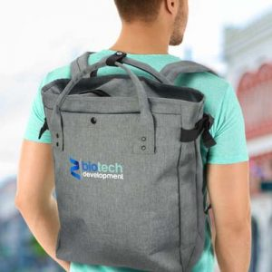 The TRENDS Newport Tote Backpack is an XL tote bag that can be worn as a backpack. Grey heather style. Great branded tote backpacks.