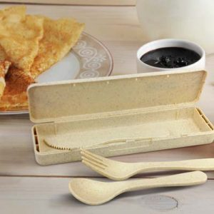The TRENDS Choice Cutlery Set is a unique cutlery set made from natural wheat straw fibre/bpa free polypropylene.  Great branded eco promo products.